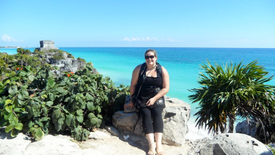 Allie hanging out at Tulum in Mexico