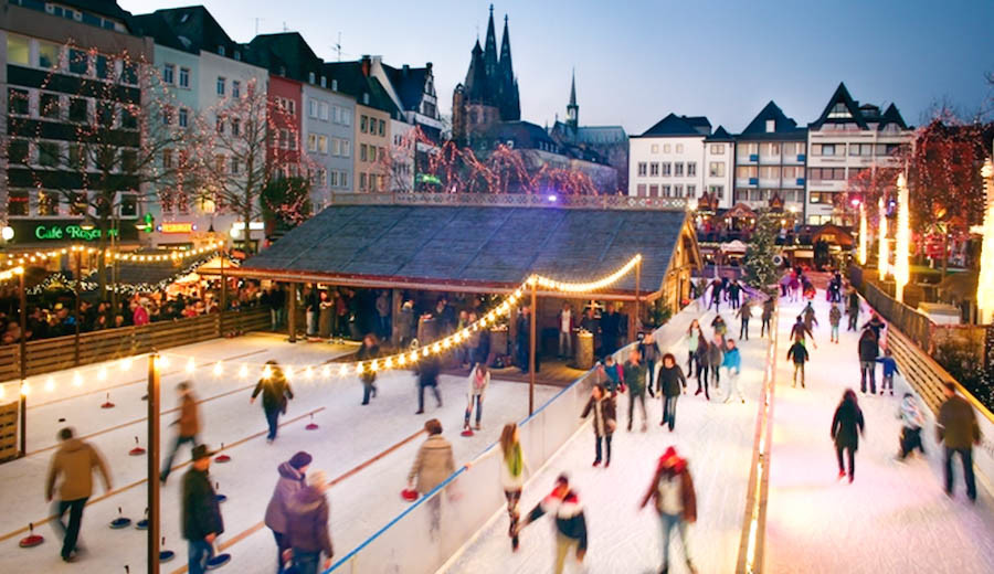 Ice Skating in the Old Town of Cologne