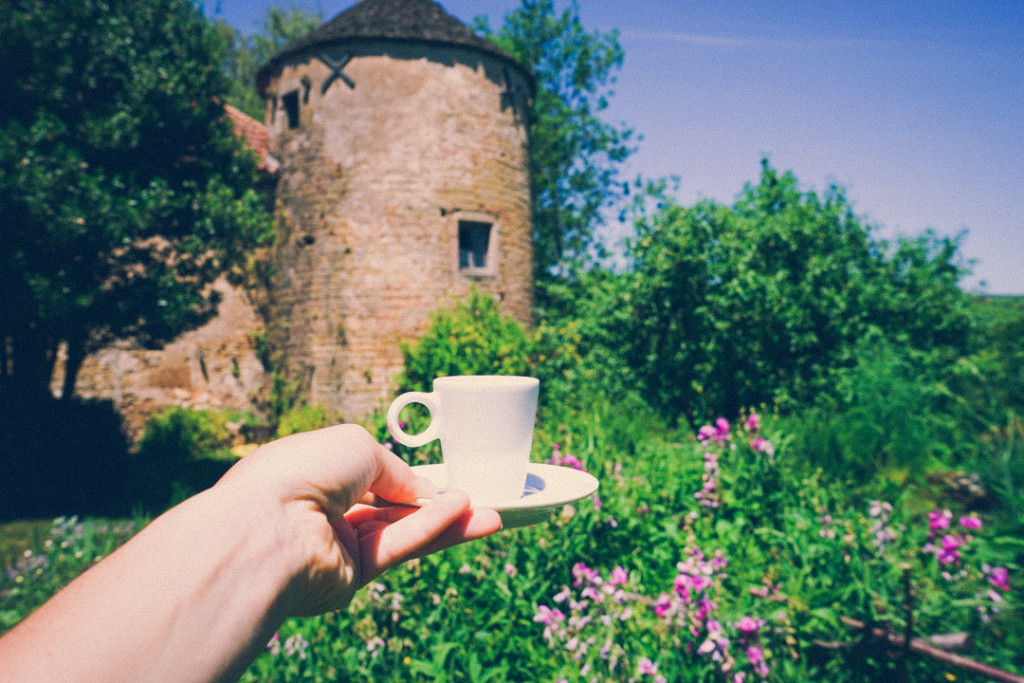 Espresso in a Castle Garden