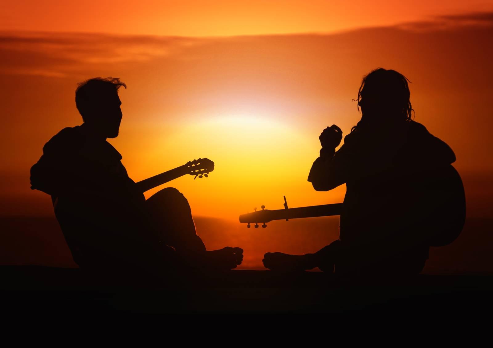 guitar, sunset