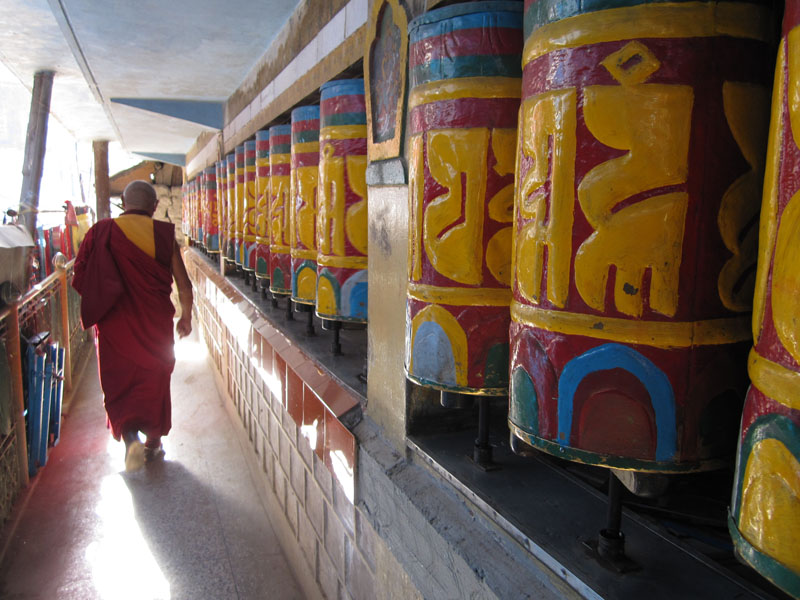 Tibetan Prayer Wheels - McLeod Ganj, a village within the Dharamshala municipality, is the home of the current Dalai Lama, Tenzin Gyatso, and the exiled Tibetan government.