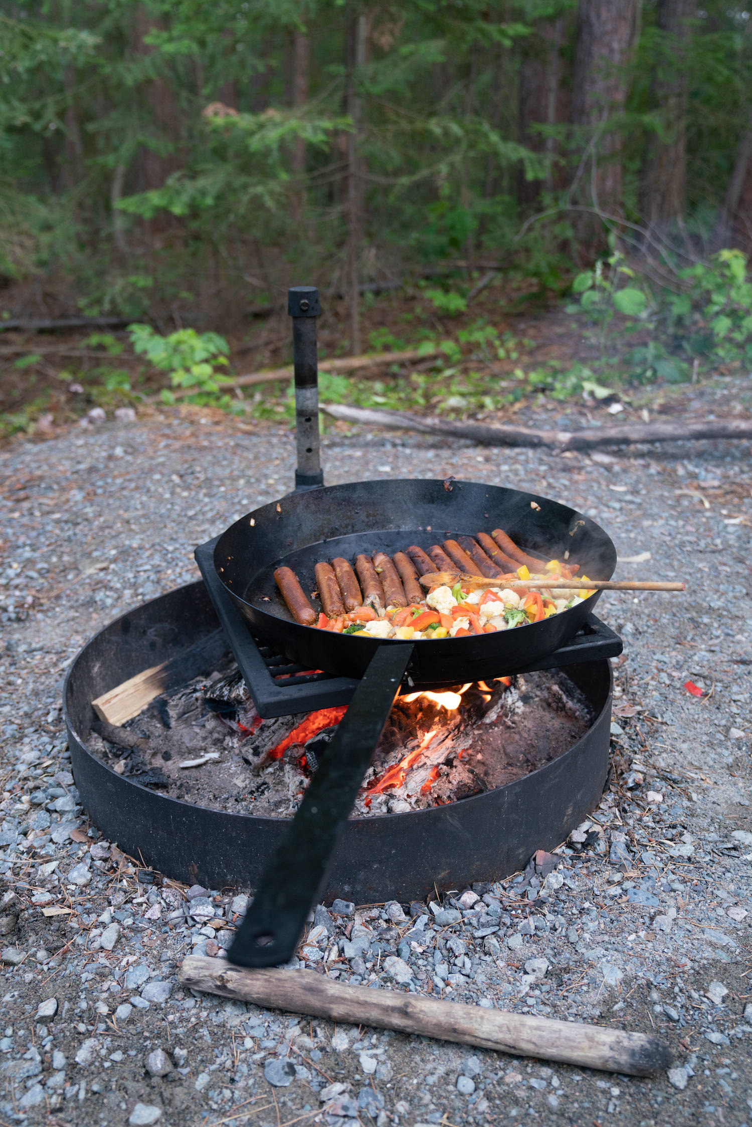 vegan camp food over open fire