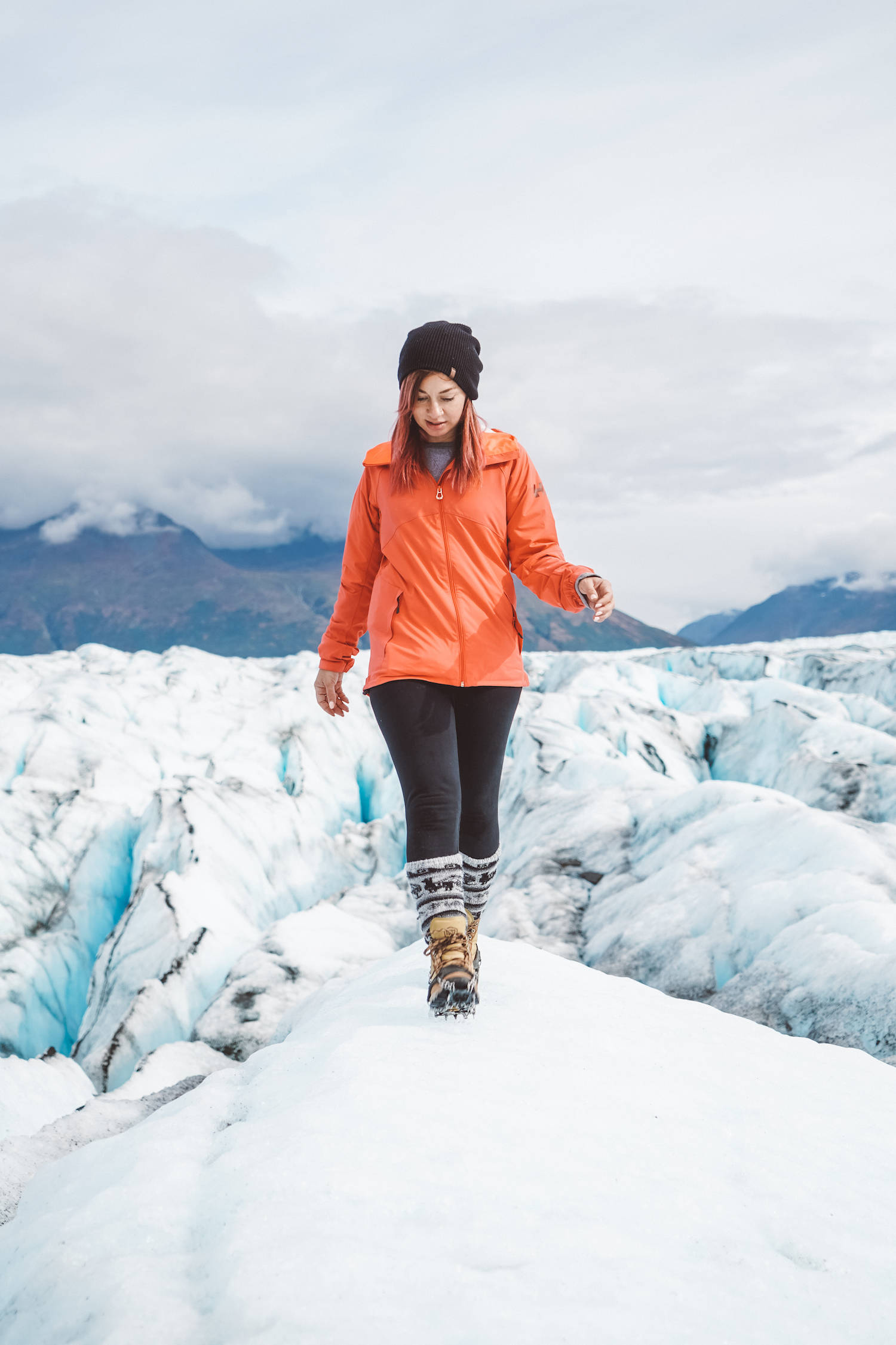 Walking on a Glacier in Alaska