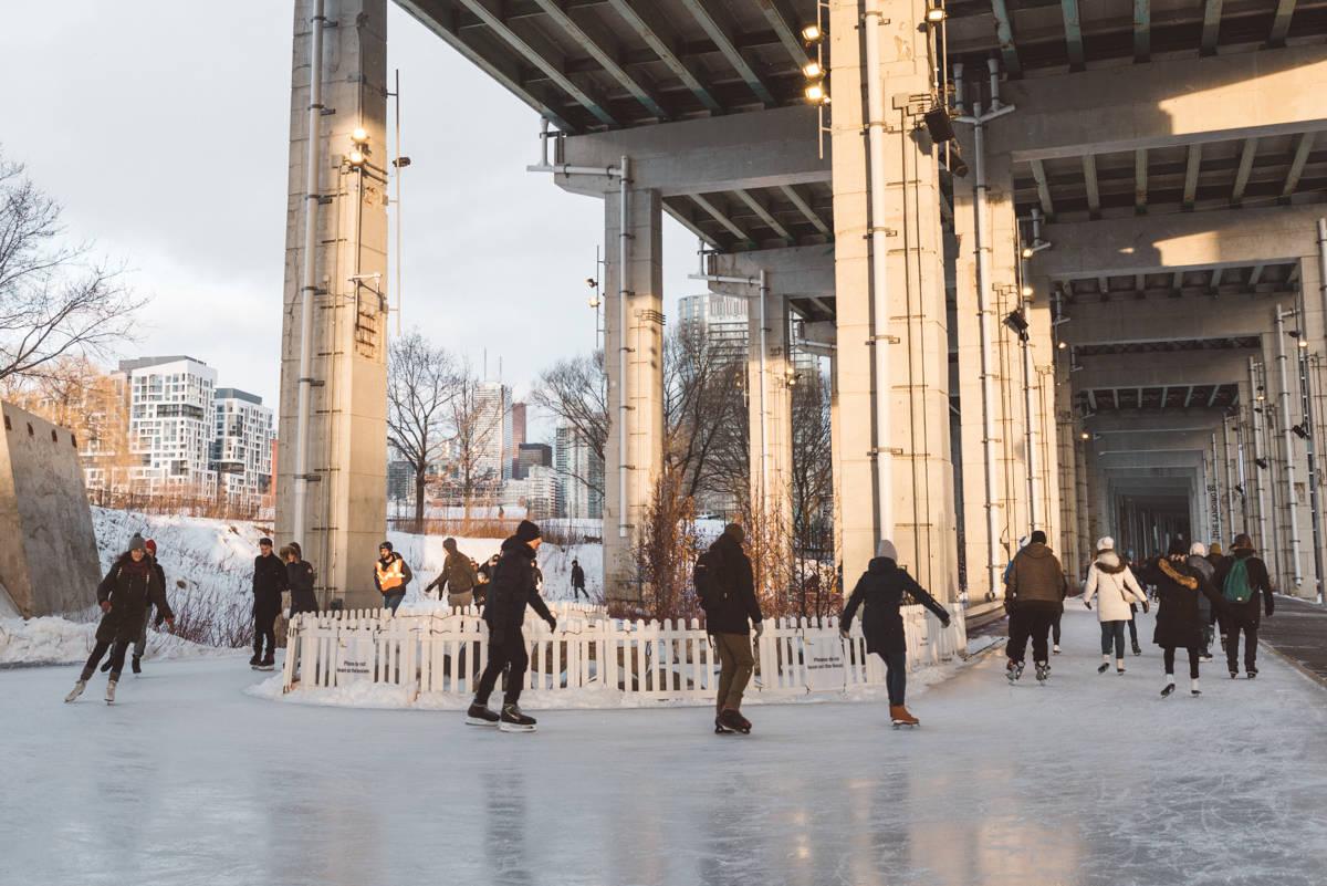Skating at the Bentway Toronto under the Gardiner Expressway